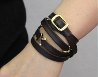 XXXXX Metal Ornament Soft Leather Bracelet(Dark Brown)
