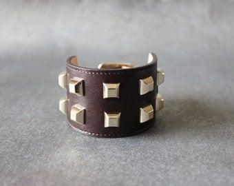 Square Stud Ornament Soft Leather Bracelet(Dark Brown)