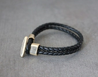 Braided Leather Bracelet(Black)