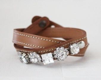 Crystal Flower Embellished Leather Bracelet(Tan)