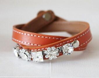 Crystal Flower Embellished Leather Bracelet(Orange)