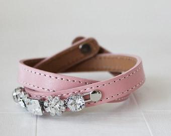 Crystal Flower Embellished Leather Bracelet (Baby Pink)