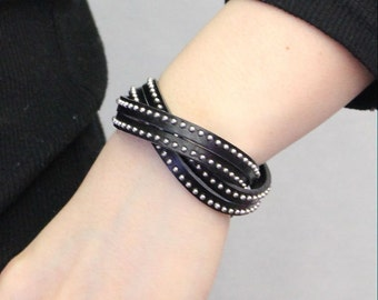 Stitched Leather String Bracelet(Black)