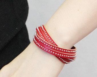 Stitched Leather String Bracelet (Red)