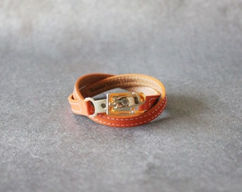 Double Wrap Belt Buckle Ornament Leather Bracelet(Orange)