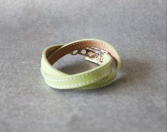 Double Wrap Belt Buckle Ornament Leather Bracelet(Apple green)