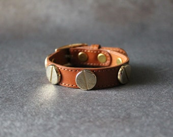 French Stud Leather Bracelet-Medium Size (Calf)