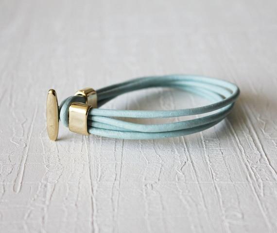18k Gold Plated T Closure Leather Wrap Bracelet(soft sky)
