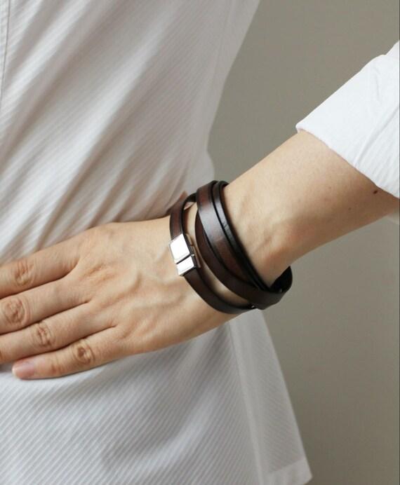 Thin Gradation Leather Bracelet(DARK BROWN)