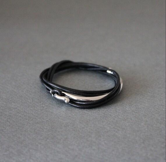 Leather Wrap Bracelet Rhodium Silver Plated  Brss Hook(Black)