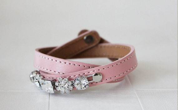 Crystal Flower Embellished Leather Bracelet (Baby Pink)