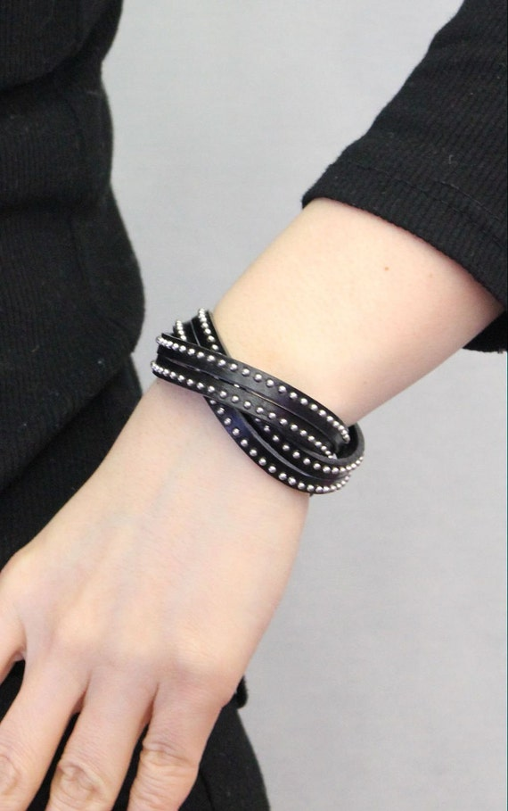 Stitched Leather String Bracelet(Black)