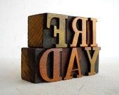 FREE SHIPPING - Vintage Letterpress Wooden Letters Collection LP4