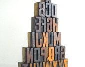 A to Z -26 Vintage Letterpress Wooden Letters Collection LB82