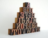 FREE SHIPPING - A to Z -26 Vintage Letterpress Wooden Letters Collection - VB01