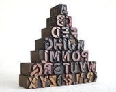 A to Z, Punctuation Marks - 34 Vintage Letterpress Wooden Types - Mini Series - LW13