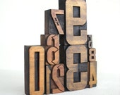 0 to 9 -10 Vintage Letterpress Wooden Number Collection -VM54