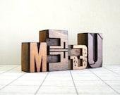 ME & U - 4 Vintage Letterpress Wood Type Letters Collection - YZ03