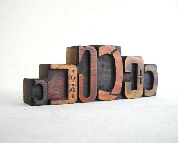 Vintage Letterpress 6 Wooden Alphabet -C Collection -VM55