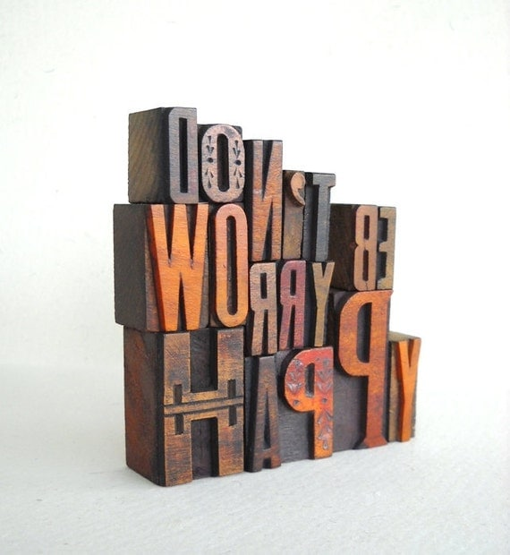 Don't Worry Be Happy - 17 Vintage Letterpress Alphabets and Punctuation Marks Collection, Art Installation -MV33