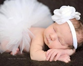 Infant Tutu White Newborn Tutu, 1st Birthday, Birth Announcements, Newborn Photos, Wedding Tutu for Baby or Toddler, Newborn Photo Prop