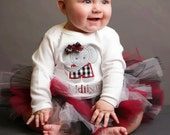 Alabama Baby Tutu in Crimson and Black with Flower Headband - Alabama Tutu - Alabama baby outfit - Baby Tutu Dress - Alabama Tutu Set - Tutu