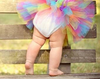 Baby Tutu dress and Flower Headband - Rainbow Tutu - Bright Tutu - Cake Smash Tutu - Toddler Tutu - First Birthday Tutu - Photo Prop Tutu