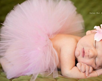 Infant TUTU Pink with Flower Headband - Newborn to 2T - Newborn Photos and Birth Announcements