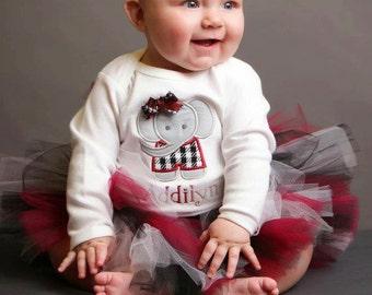 Alabama Baby Tutu in Crimson and Black with Flower Headband - Alabama Tutu - Alabama baby outfit - Baby Tutu Dress - Alabama Tutu Set - Tutu
