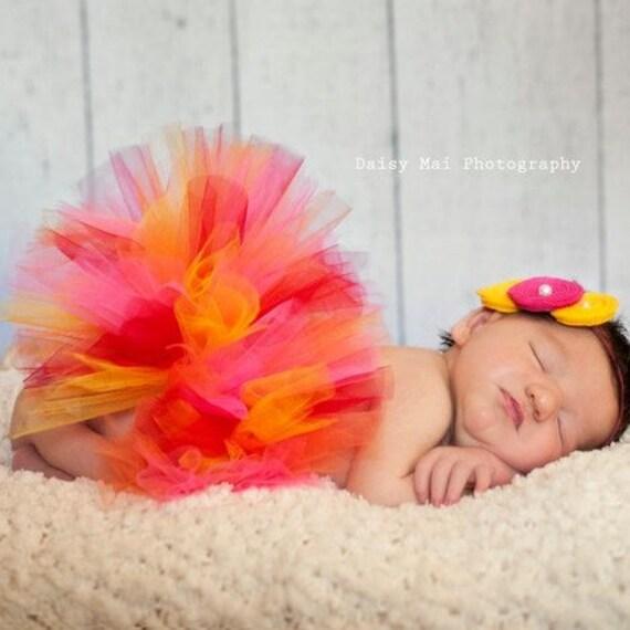 Newborn TUTU Red, Yellow, Orange, Pink with Flower Headband - Newborn to 2T - Photos, Baby Showers, Birth Announcement, 1st Birthday