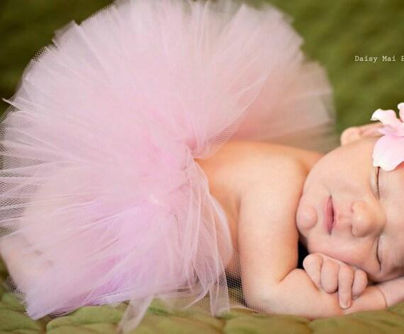 Newborn TUTU Pink with Flower Headband - Newborn to 2T - Newborn Photos and Birth Announcements