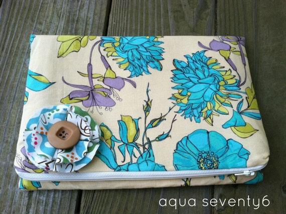 Fold Over Zippered Clutch Purse with BONUS FREE Boho Petal Brooch