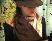 Upcycled Brown Infinity Scarf