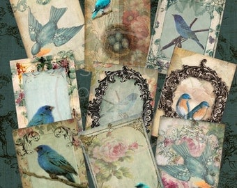 BLUEBIRD REVISITED - Digital Collage Vintage Blue Birds 2.5x3.5 inch ATC Scrapbooking Background Craft Supplies Gift Tags Paper Print