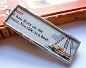 SALE- Microscope Slide Soldered Glass Art Pendant- Boat- Vintage Retro Dictionary Definition Sailboat Sailing