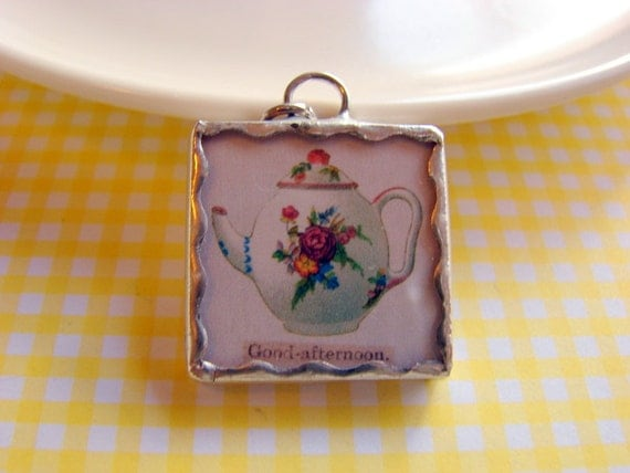SALE Tiny Soldered Glass Art Charm Pendant - White Teapot with Pink Roses - Good Afternoon - Vintage Collage Shabby Tea Party