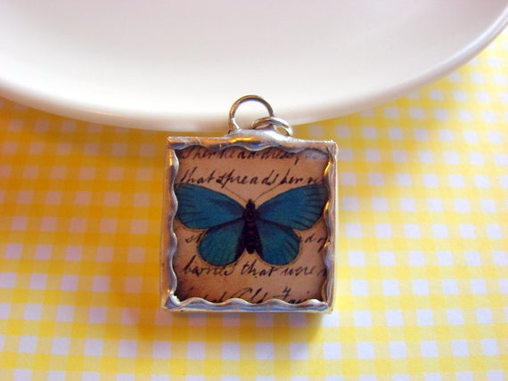 SALE Blue Butterfly on Vintage Script -  Soldered Glass Art Charm Pendant - Collage Victorian Insect Specimen Nature