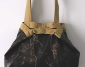 Brown & Gold Leather Like medium sized tote