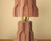 Rhoda Morgenstern Night Light Popsicle Stick Lamp Tramp Art in Dusty Rose Lavander Pink 60s 70s
