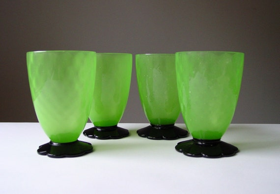 SALE...Grey Gardens Juice Glasses Absinthe Green Depression Glass Black Flower Feet Vaseline