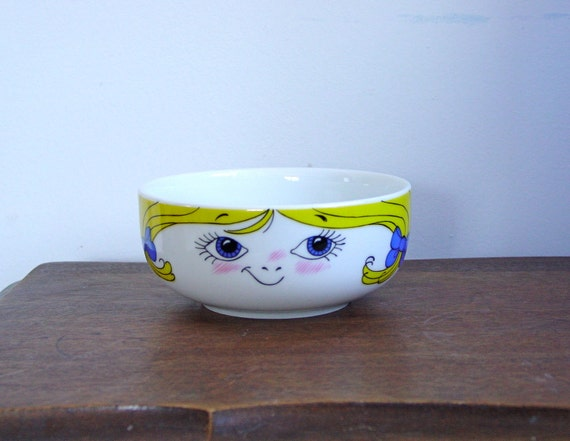 Bowl with Girls Face Head Childrens Tableware Table Setting or Craft Sewing Art Supply Organizer
