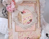 Shabby Chic Celebrate Pink and Cream Cake card