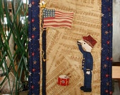"Soldier Boy Quilt With Stand ~ Patriotic Quilt ~ 8"" x 12"" Hand Quilted Original Design"