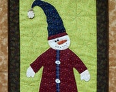 "Snowman Wall Hanging ~ Hand Applique & Hand Quilted ~ OOAK 15"" x 23 "" ~ Hanger Included"
