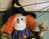 Halloween Witch Doll - Dot ~ 20 Inches Tall ~ Orange, Purple Green with Handmade Broom
