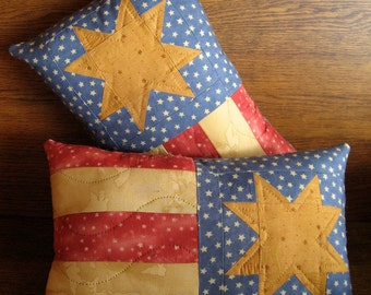 """Patriotic Pillow ~ USA Quilted Flag Pillow ~ 9"""" x 14"""" Pillow ~ Red, White and Blue Pillow ~ July 4th Pillow ~Veterans Pillow"""