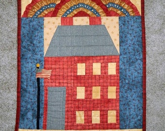 Wall Decor/American Schoolhouse Wall Hanging ~ Wall Art/OOAK Hand Quilted