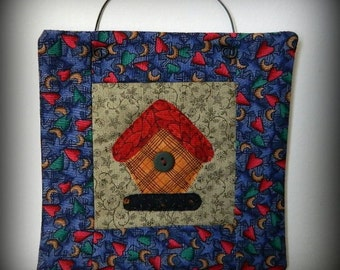 Birdhouse Mini Quilt - Original Handmade Quilt