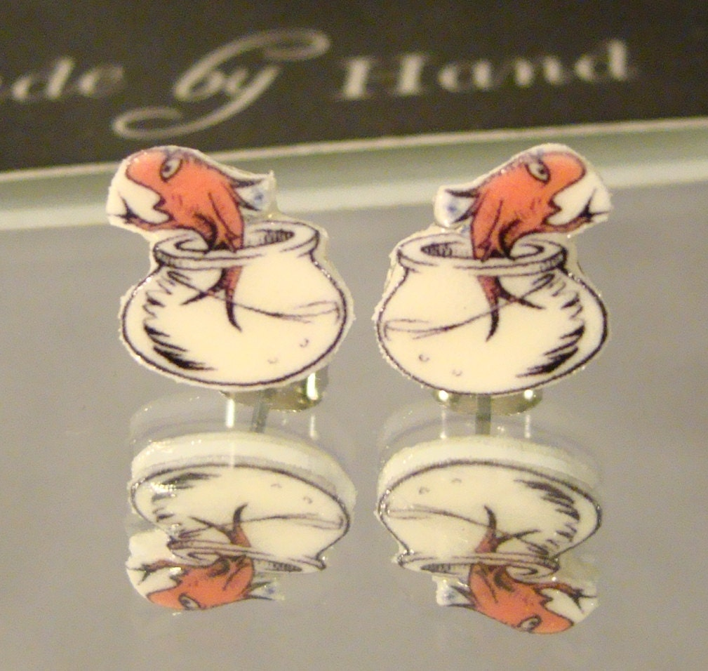 Dr seuss cat in the hat fish bowl stud earrings by afanaffair for Cat in the hat fish
