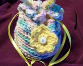 REDUCED Girl's OOAK drawstring crocheted purse in pastel colors with flower.